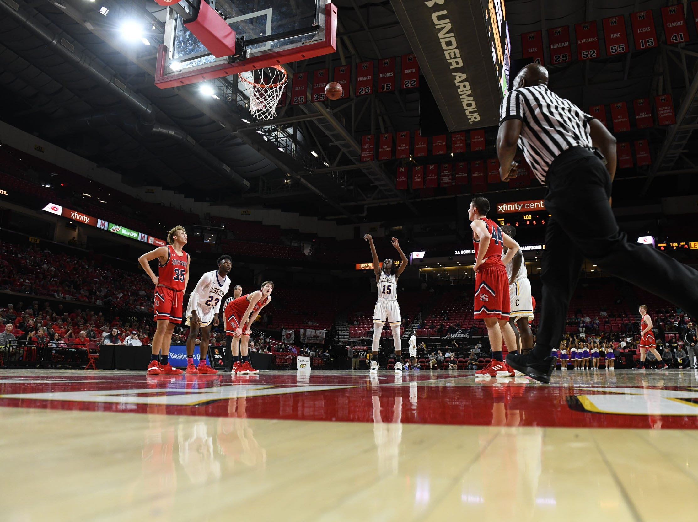 Crisfield's Cortrey Fontaine shoots free throws against Southern-Garrett during the MPSSAA State Championships at the Xfinity Center in College Park, Md. on Friday, March 15, 2019.