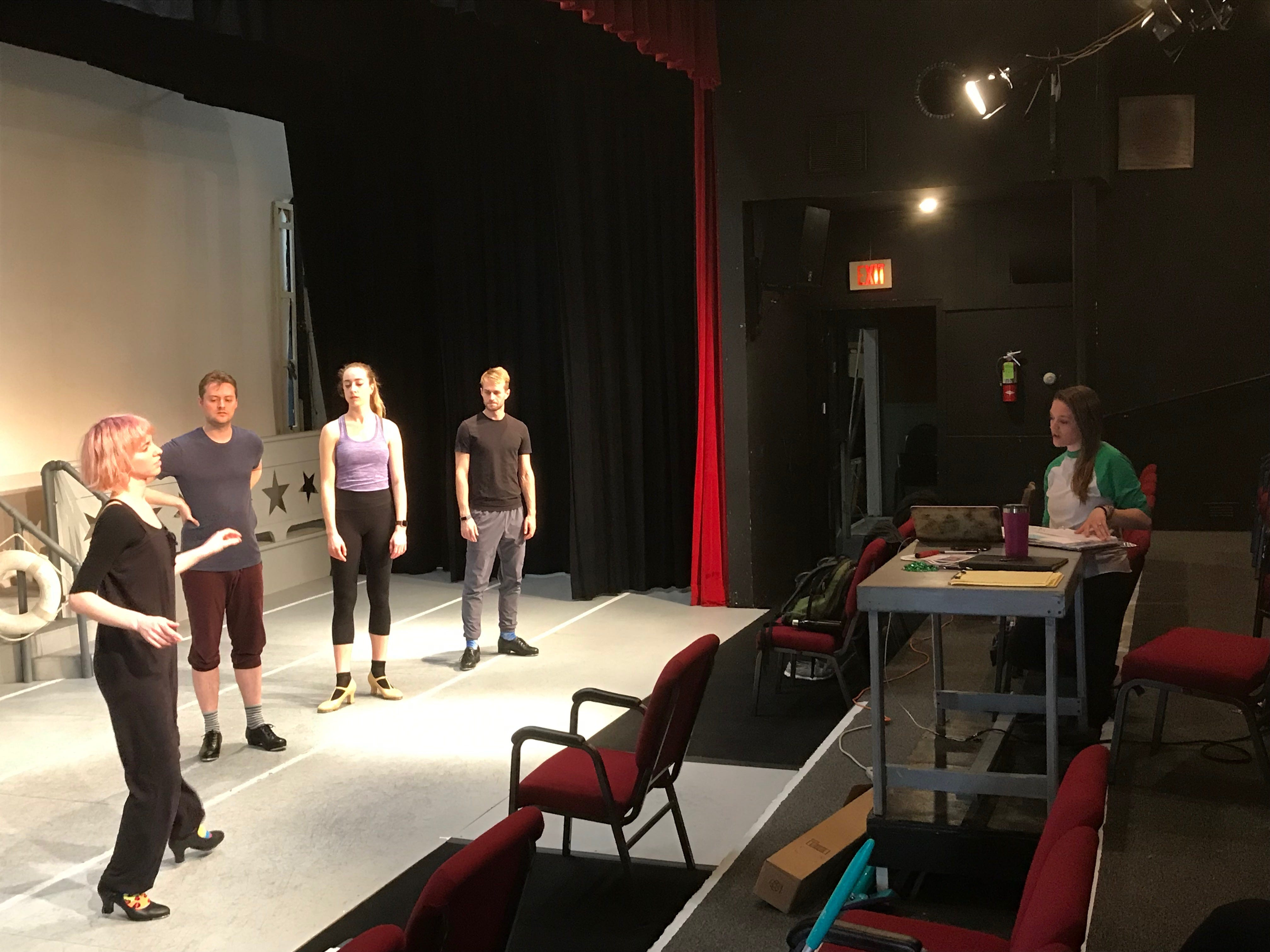 Choreographer Emily Price, far right, directs actors as they rehearse a number for 'Dames at Sea,' a tap dance, musical comedy, on Thursday, March 14, 2019.  The musical will be performed at North Street Playhouse in Onancock, Virginia starting on Thursday, March 21, 2019.