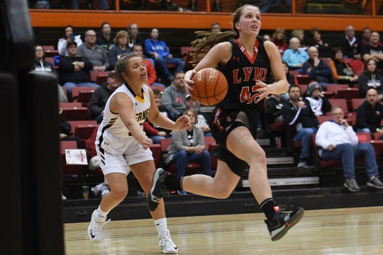 Brandon Valley's Ashley Wells attempts to score during the game against Mitchell in the Class AA semifinals Thursday, March 15, in Rapid City.