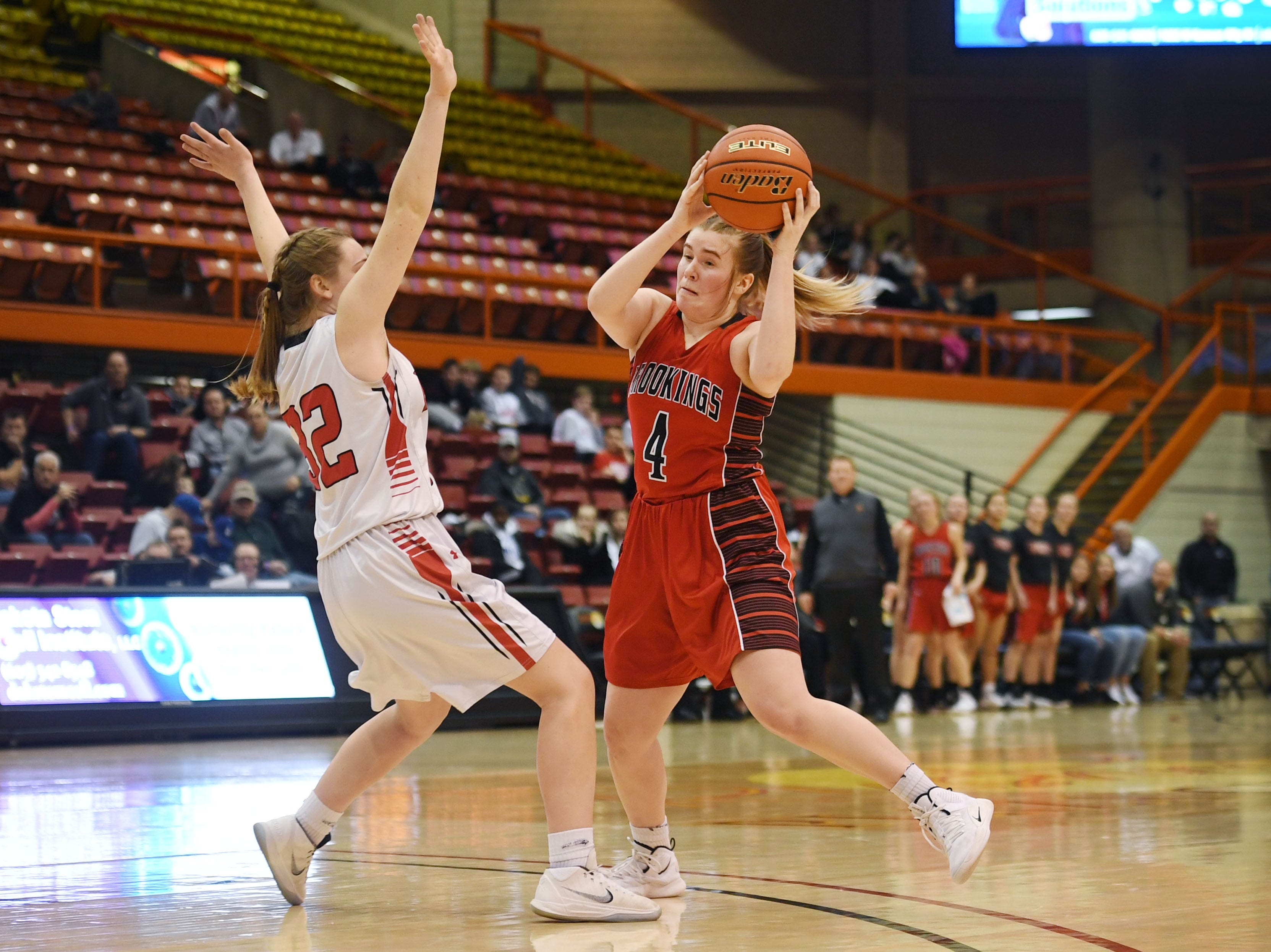 Brookings' Alli Gordon goes against Brandon Valley defense during the game in the Class AA quarterfinals Thursday, March 14, in Rapid City.