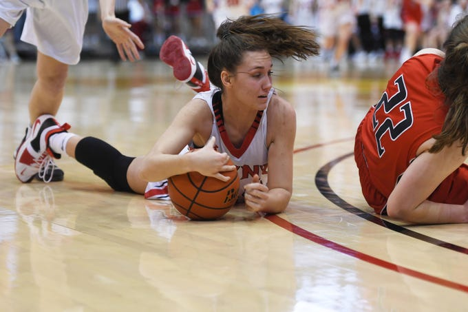 Brandon Valley's Trinity Law attempts to gain control of the ball during the game against Brookings in the Class AA quarterfinals Thursday, March 14, in Rapid City.