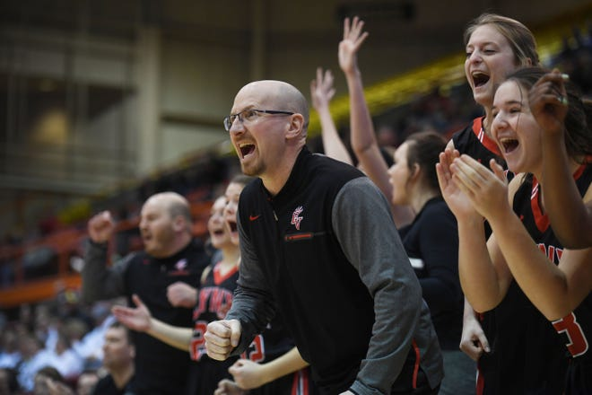 Brandon Valley's Mark Stadem reacts to a call during the game against Mitchell in the Class AA semifinals Thursday, March 15, in Rapid City.