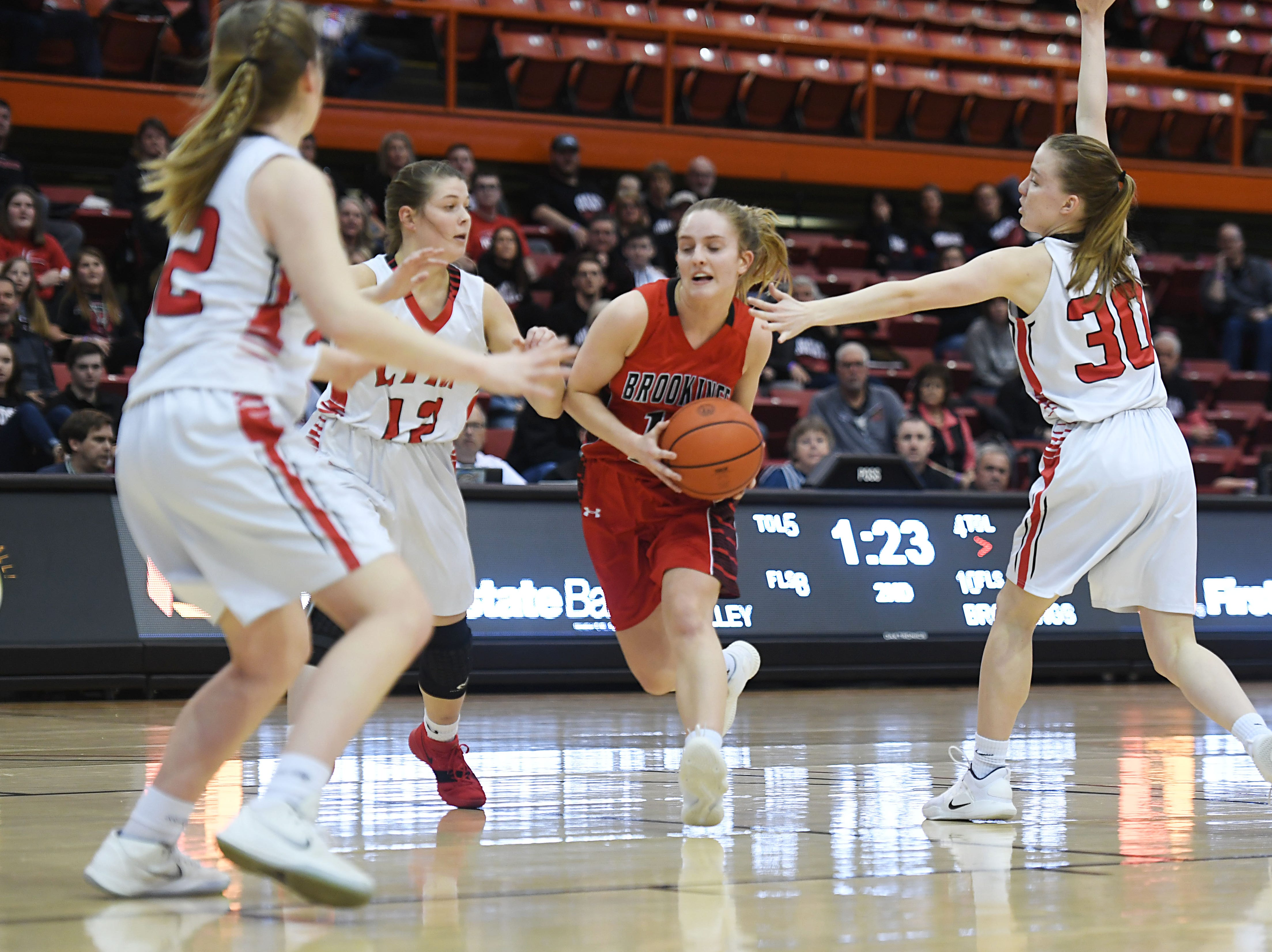 Brookings's Carolyn Hieb goes against Brandon Valley defense during the game in the Class AA quarterfinals Thursday, March 14, in Rapid City.