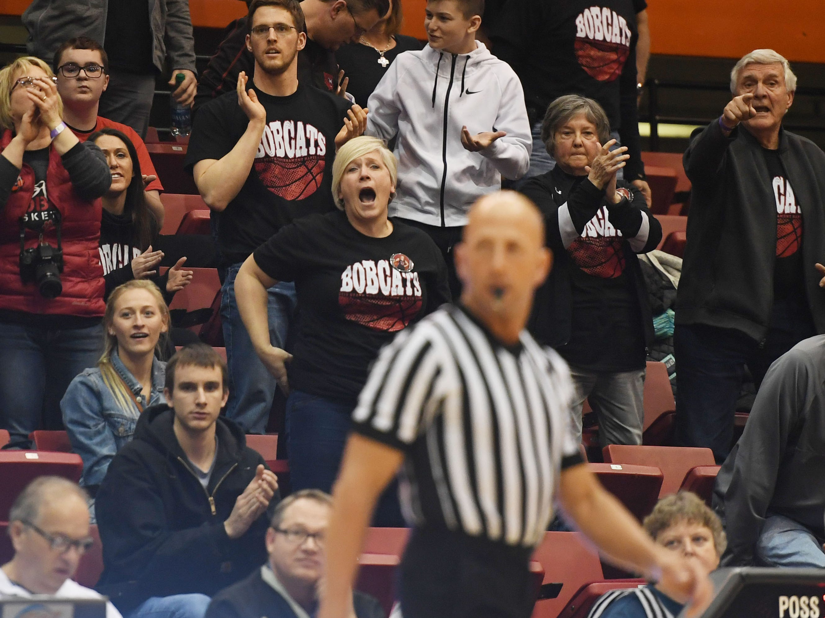 Brookings fans yell at the referee during the game against Brandon Valley in the Class AA quarterfinals Thursday, March 14, in Rapid City.