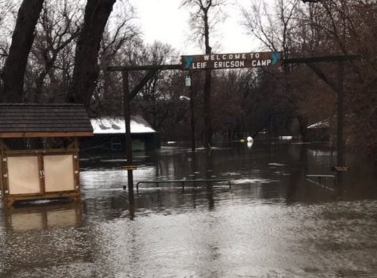 The entrance to Leif Ericson YMCA camp in Sioux Falls, submerged as the Big Sioux River flooded this week.