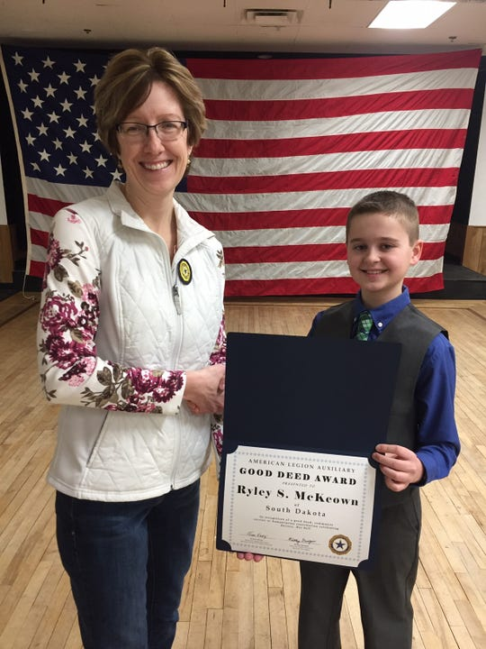 Ryley McKeown received the Good Deed award and was honored by Kim Travers at the American Legion Auxiliary last week.