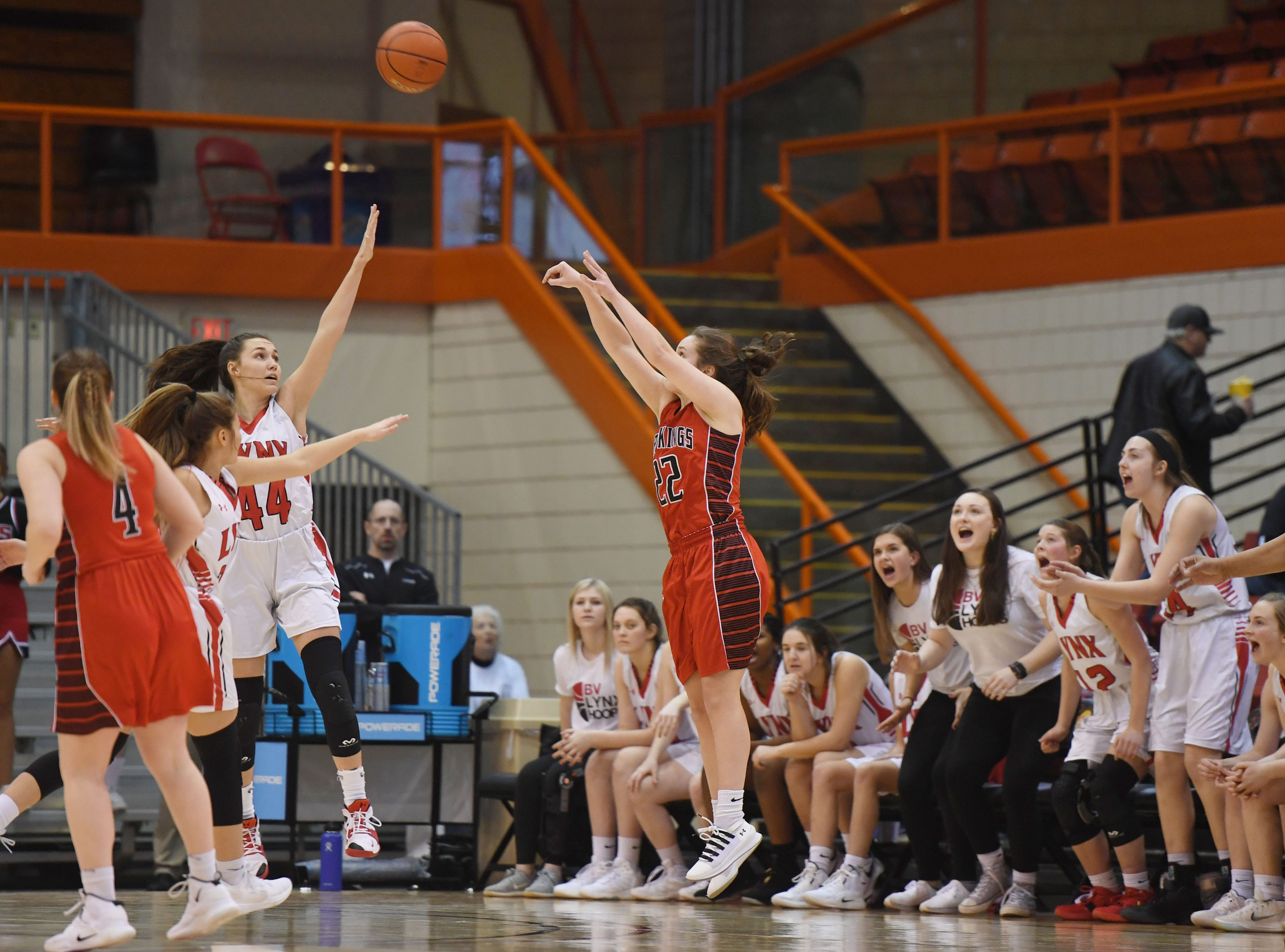 Brandon Valley's Marlie Tekrony takes a shot against Brookings in the Class AA quarterfinals Thursday, March 14, in Rapid City.
