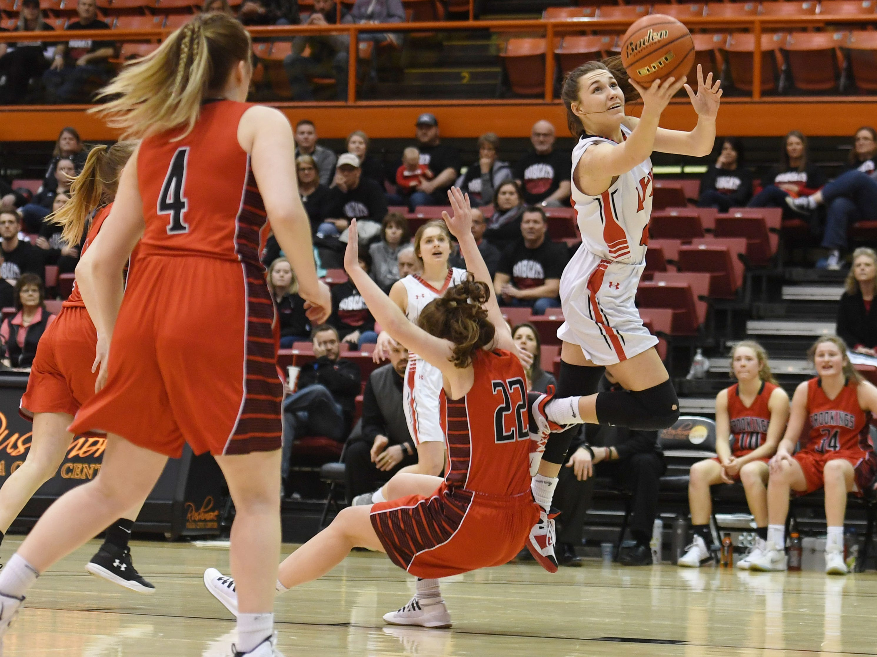Brandon Valley's Trinity Law takes a shot against Brookings in the Class AA quarterfinals Thursday, March 14, in Rapid City.