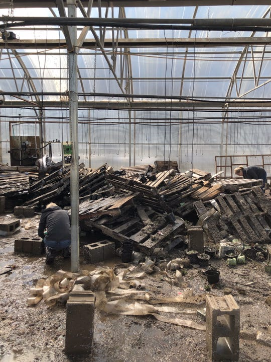 Inside the flooded buildings of Cliff Avenue Greenhouse in Sioux Falls on Friday, March 15.