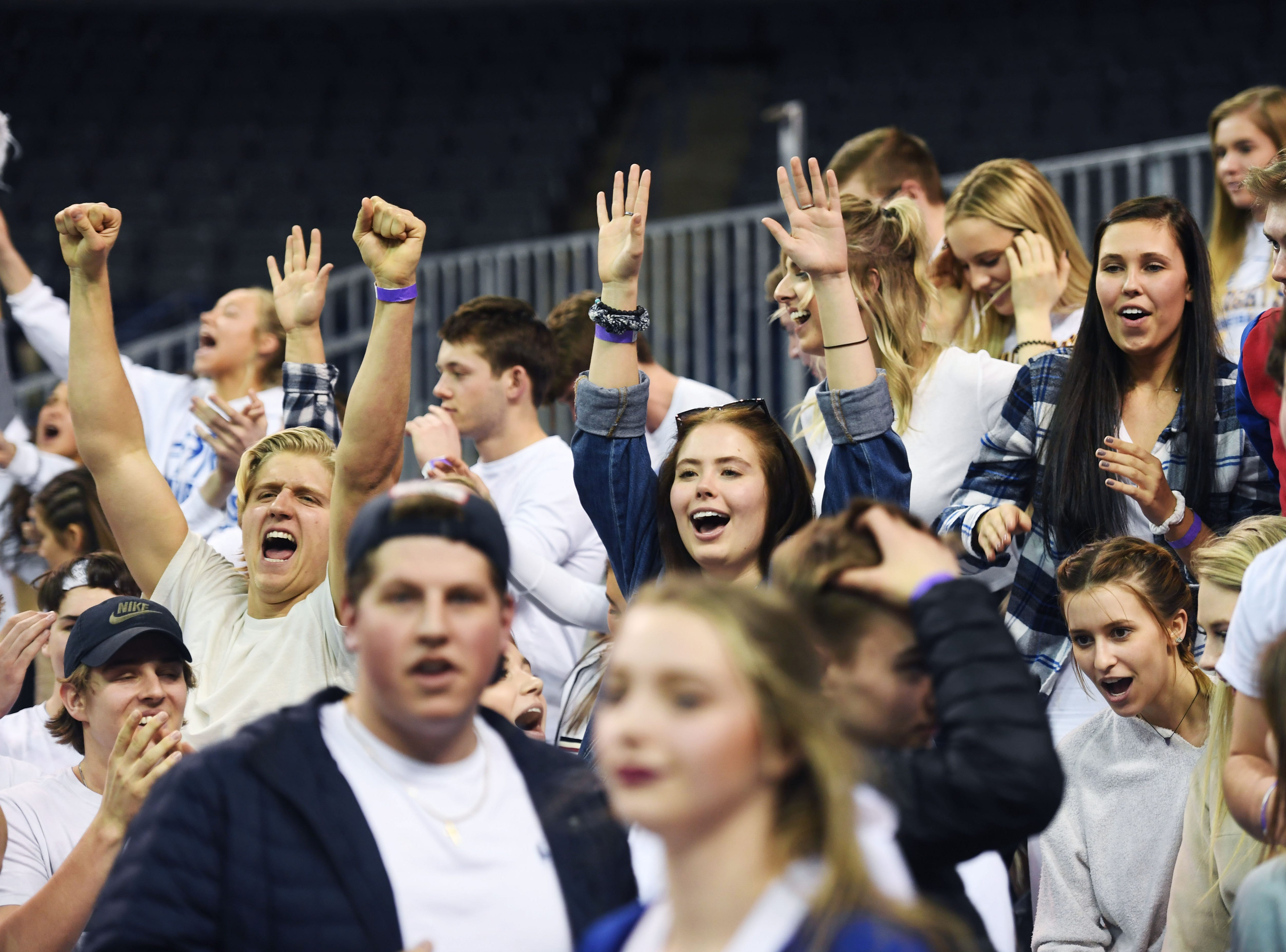 O'Gorman's student section celebrates after their win against Roosevelt in the Class AA quarterfinals Thursday, March 14, in Rapid City.