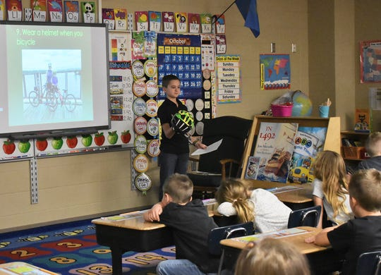 Ryley McKeown speaks about crosswalk safety at Robert Bennis Elementary in Brandon.