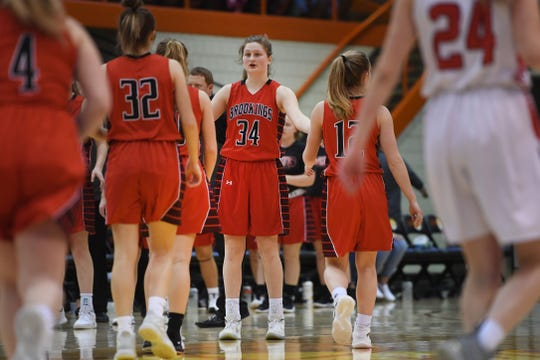 Brookings' Michaela Jewett cheers on her teammates during the game against Brandon Valley in the Class AA quarterfinals Thursday, March 14, in Rapid City.