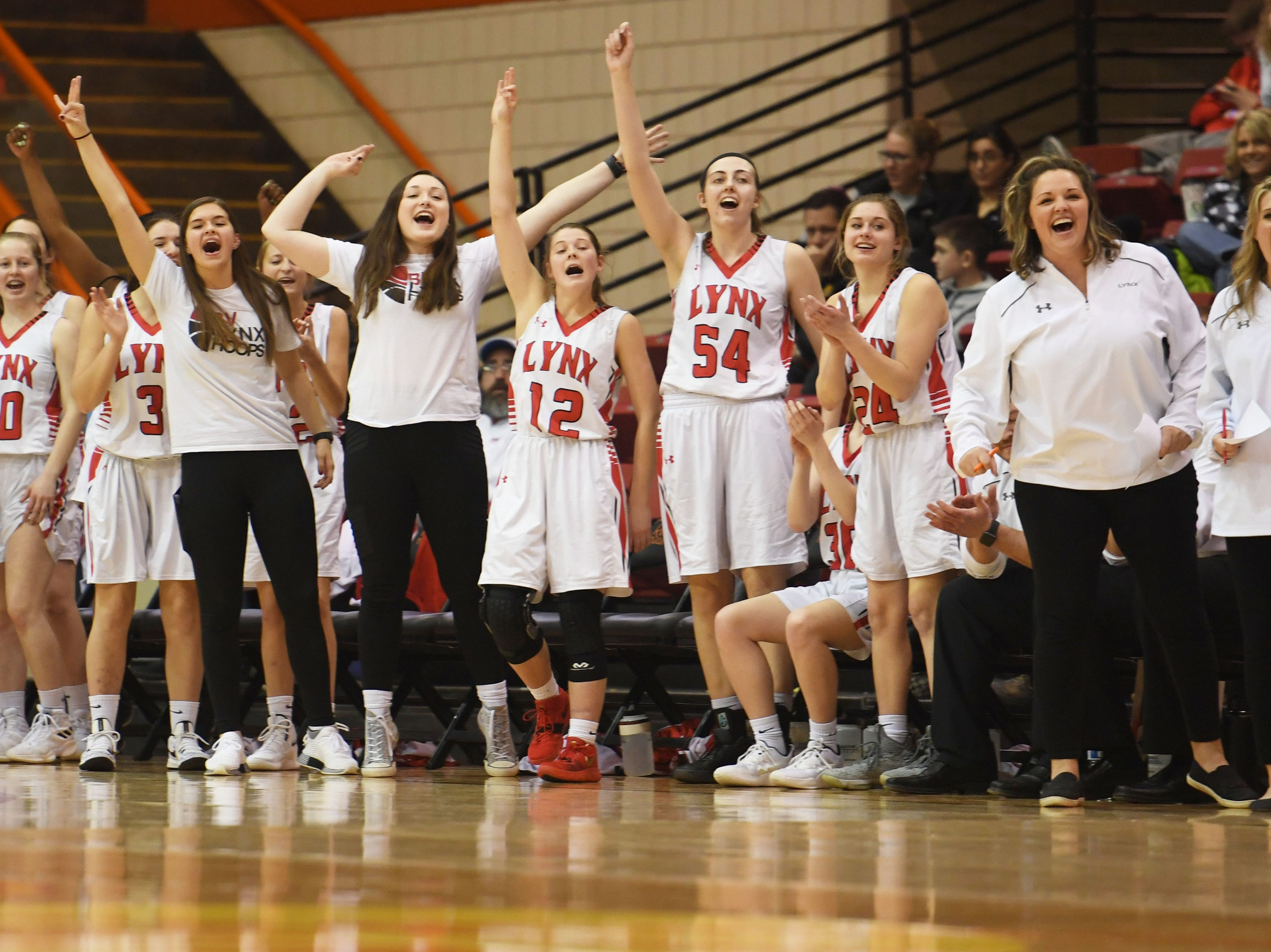 Brandon Valley's sideline cheers during the game against Brookings in the Class AA quarterfinals Thursday, March 14, in Rapid City.