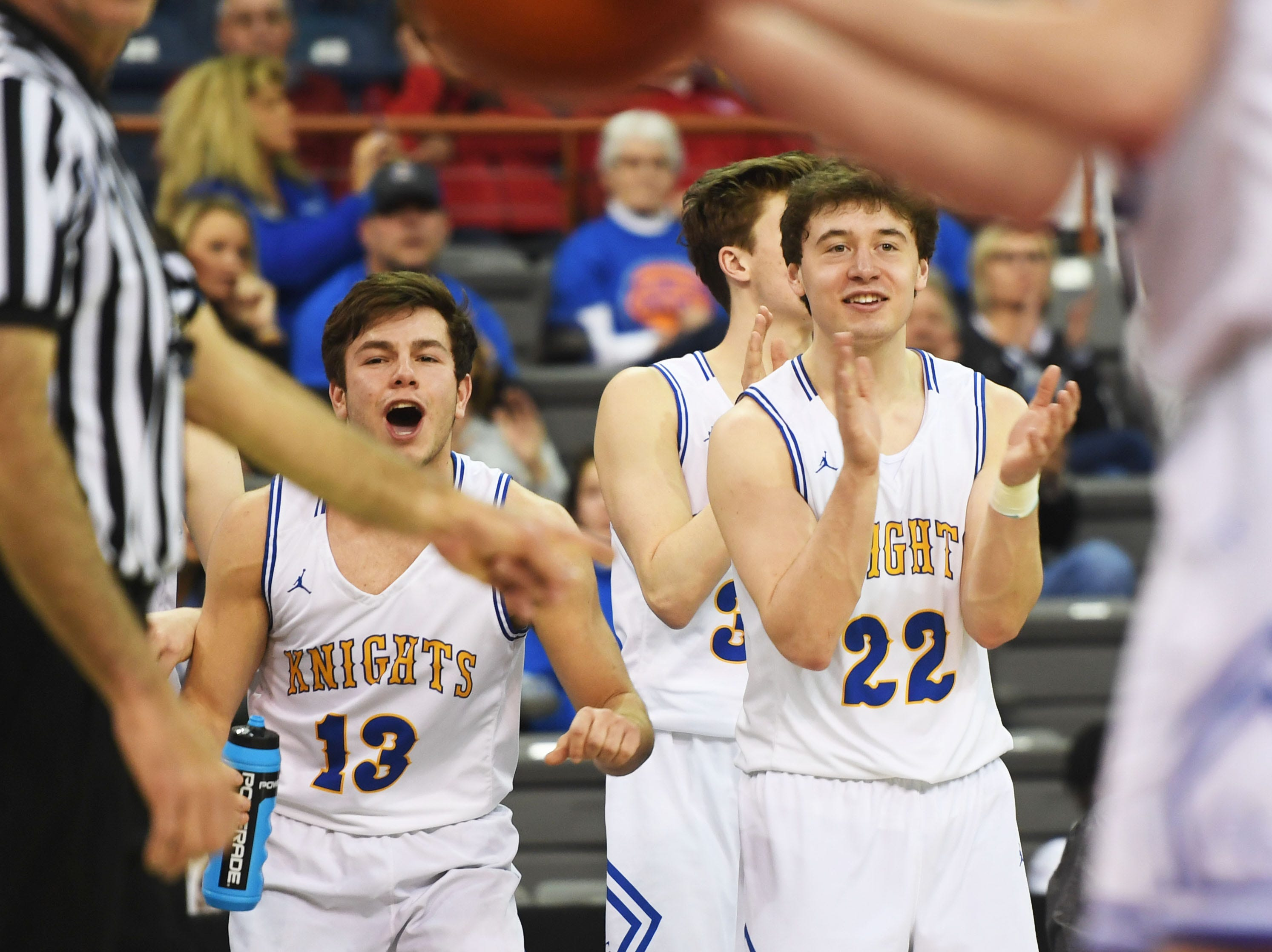O'Gorman begins to celebrate their win against Roosevelt in the Class AA quarterfinals Thursday, March 14, in Rapid City.