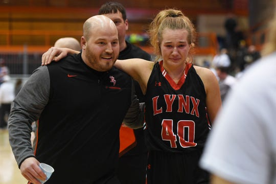 New head coach Mike Zerr and senior Hannah Behrens following Brandon Valley's Class AA semi-final win over Mitchell on March 15 in Rapid City.
