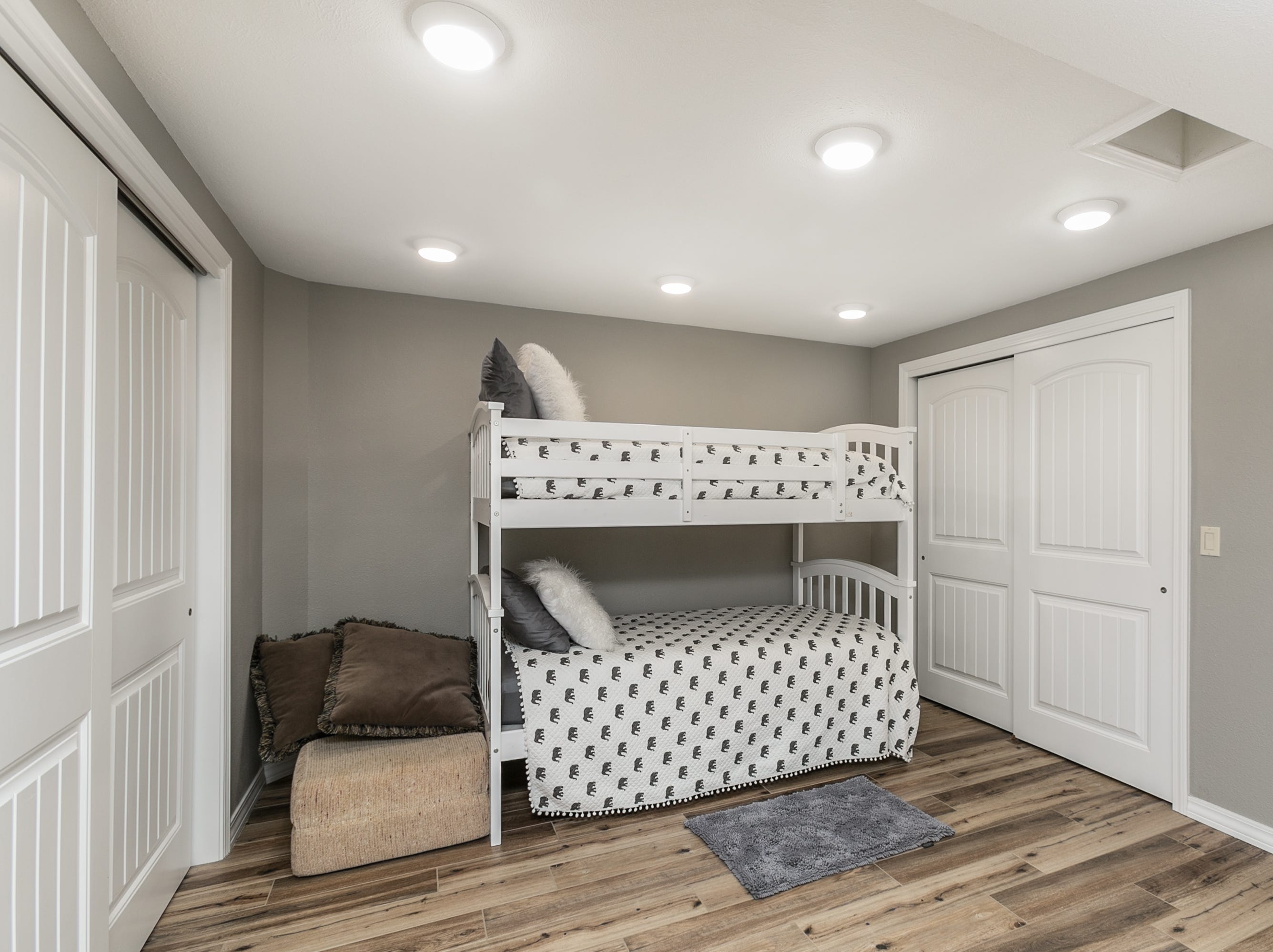 The Kembells put extra space in the laundry room to use, with bunk beds for their grandchildren when they visit.