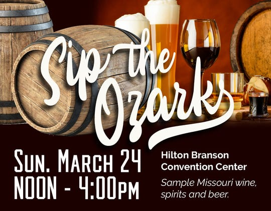 Sip the Ozarks will be held Sunday, March 24 at the Branson Convention Center.