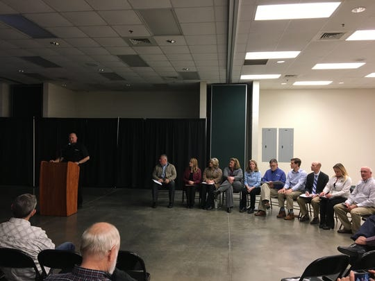 A panel of state officials prepared to answer questions about TCE pollution from local residents at a public forum held at Ozark Empire Fairgrounds on March 14, 2019.