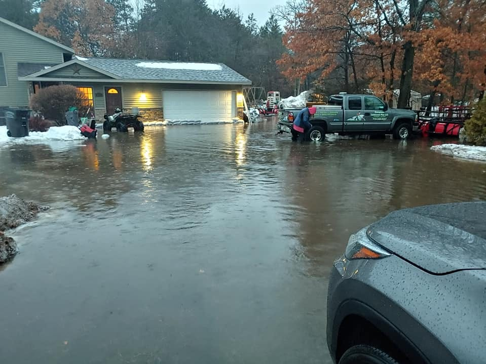 Jason Laffe shared photos of flooding at his home on Jelinski Circle in Plover on Thursday, March 14, 2019. He said he had about 13 inches of water in places in his yard and his garage was flooded, but that the water had receded significantly by Friday afternoon.