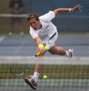 Maclay sophomore Nick Cicchetti plays during the high school boys and girls city tennis tournament at Tom Brown Park on Thursday, March 14, 2019.