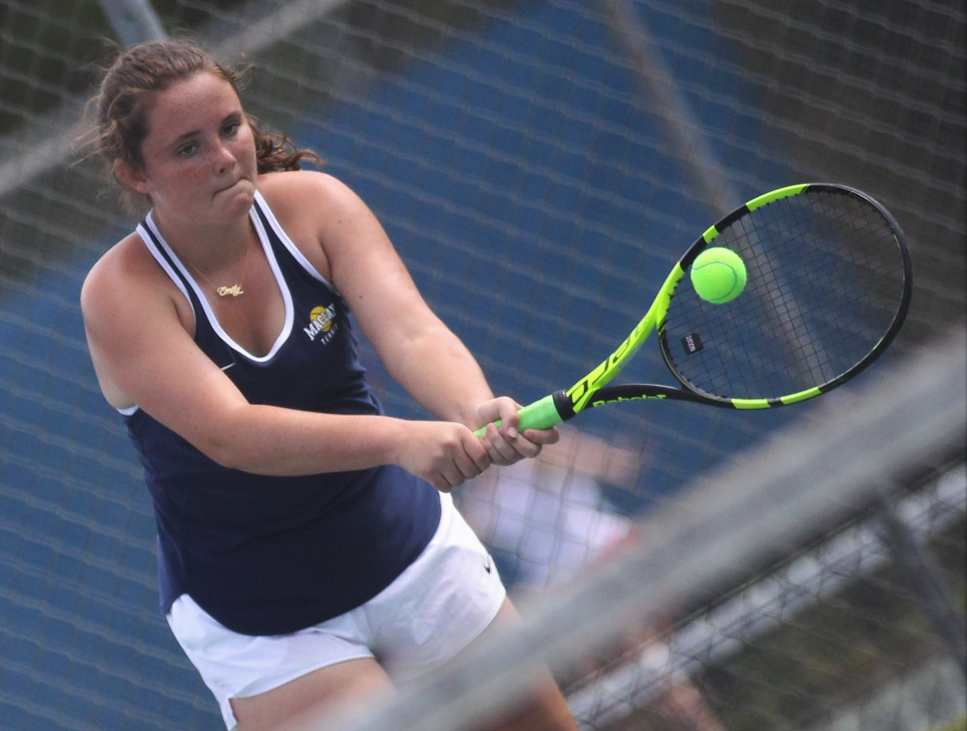 Maclay's Emily Macri plays during the high school boys and girls city tennis tournament at Tom Brown Park on Thursday, March 14, 2019.