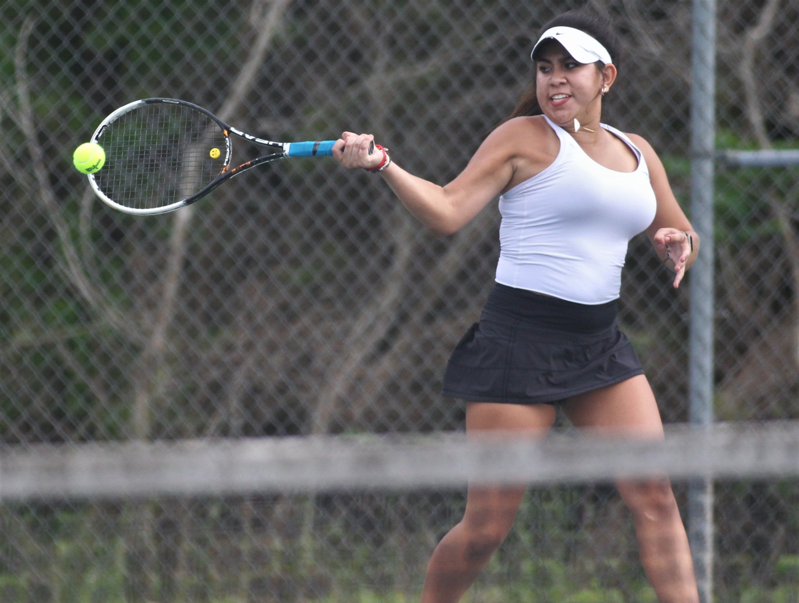 Chiles junior Sofia Guerrero plays during the high school boys and girls city tennis tournament at Tom Brown Park on Thursday, March 14, 2019.
