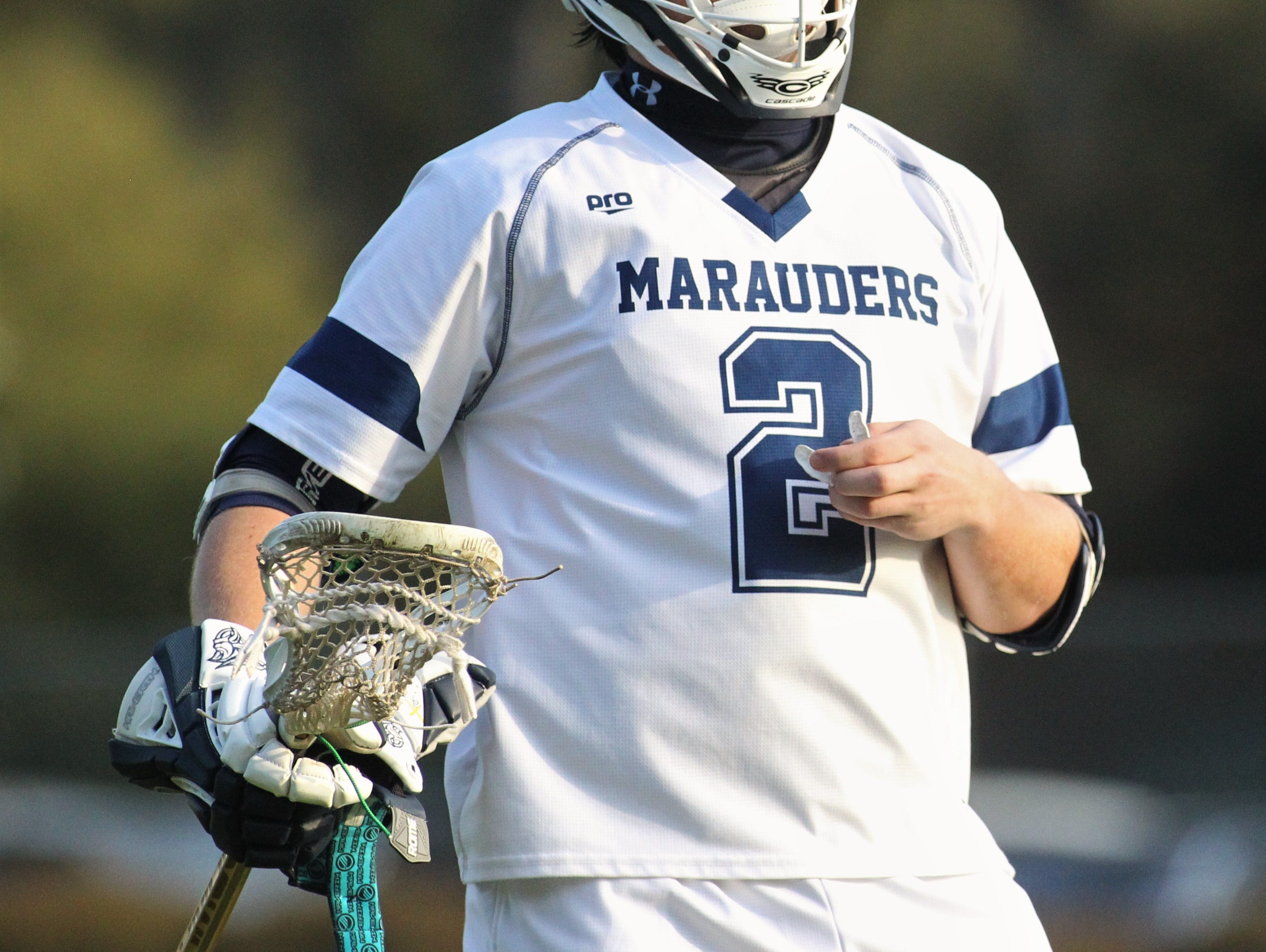 Maclay junior Sam Chase after scoring a goal as the Marauders' lacrosse team beat Leon 15-5 on their annual Military Appreciation Night on March 12, 2019.
