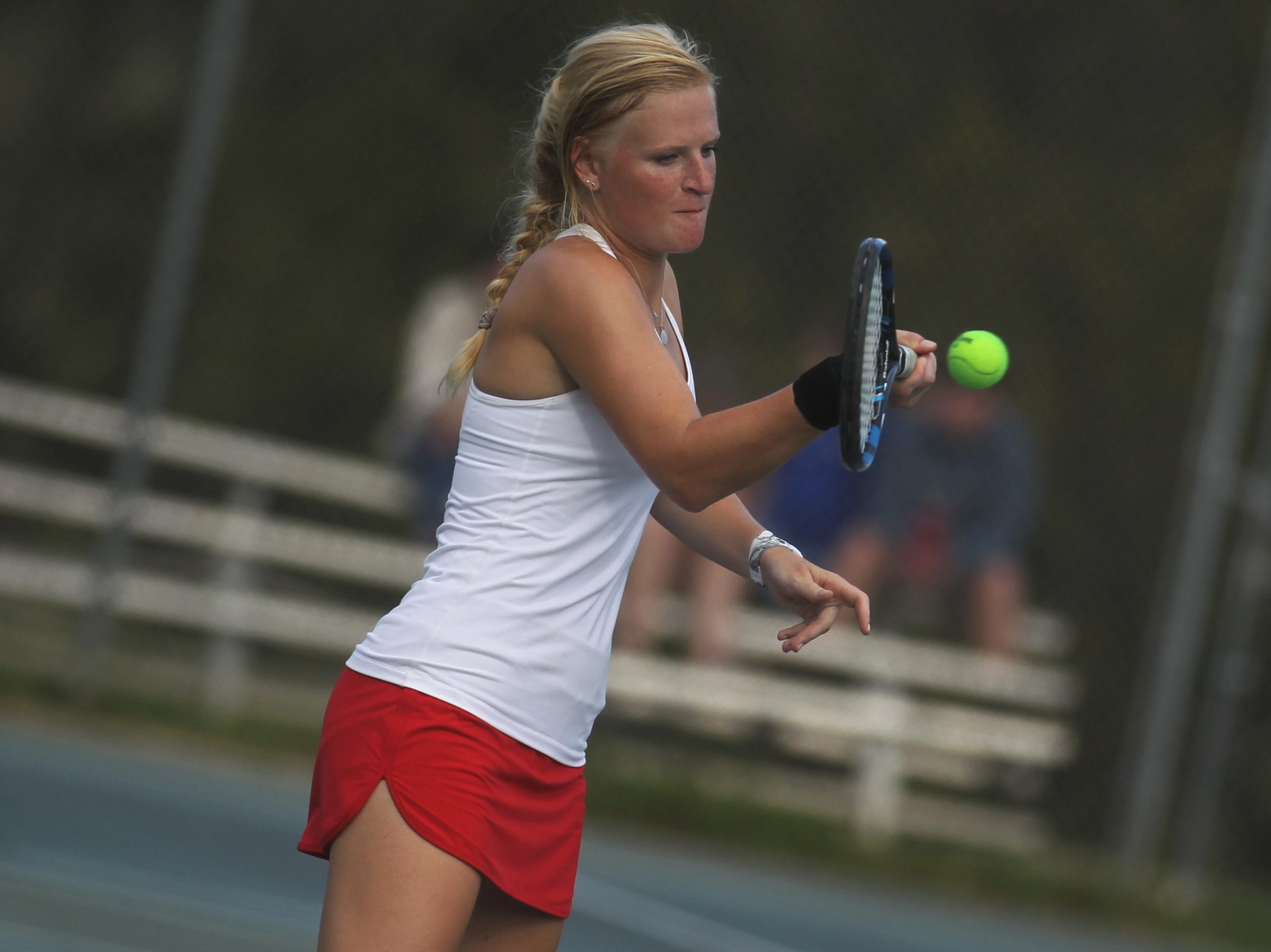 Leon senior Jules Grady plays during the high school boys and girls city tennis tournament at Tom Brown Park on Thursday, March 14, 2019.