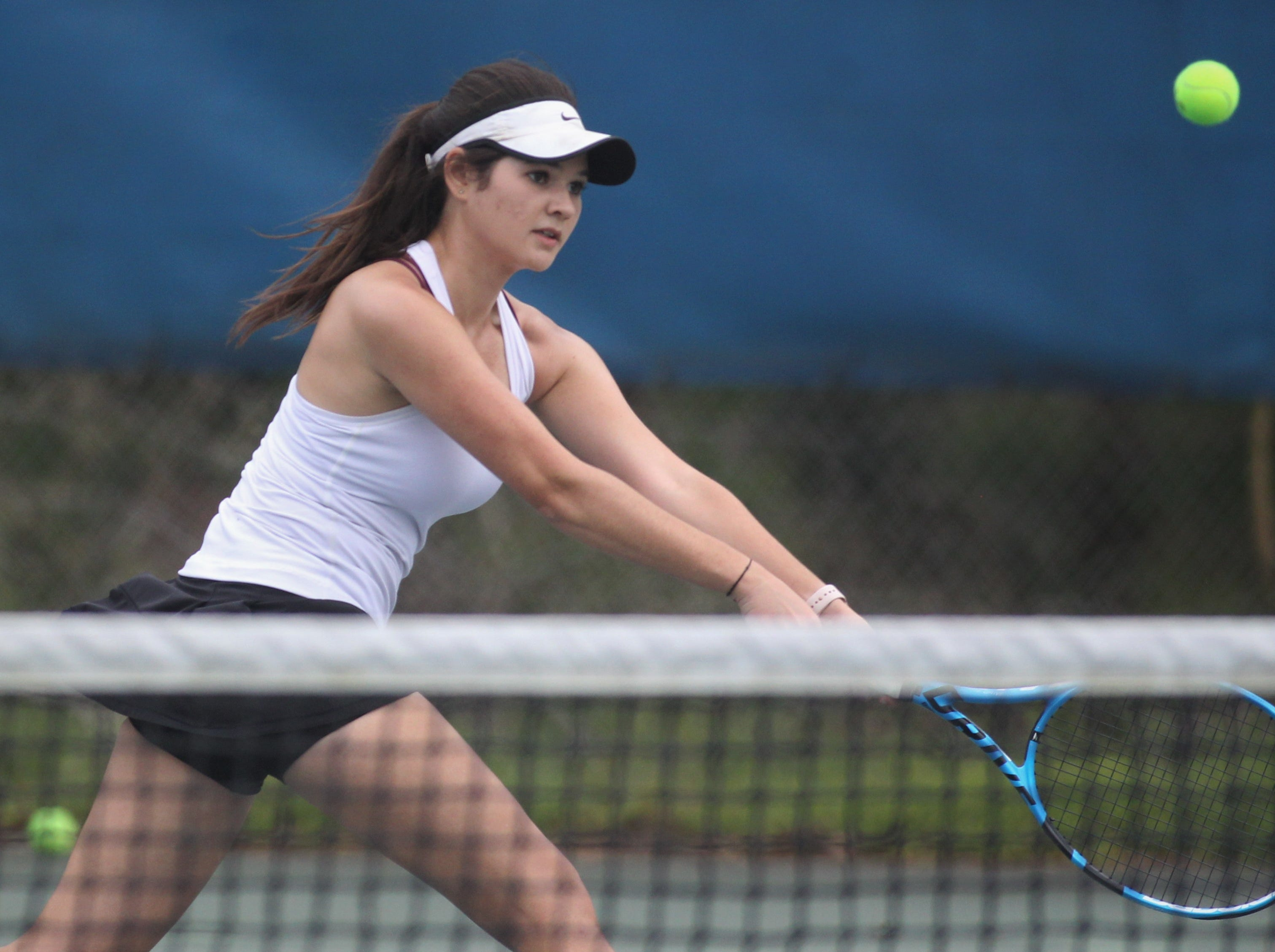 Chiles senior Gracie Wilson plays during the high school boys and girls city tennis tournament at Tom Brown Park on Thursday, March 14, 2019.