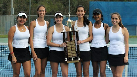 Chiles' girls tennis team won its fifth straight city championship during the high school boys and girls city tennis tournament at Tom Brown Park on Thursday, March 14, 2019. Senior Gracie Wilson (third from left) won a city title at No. 1.