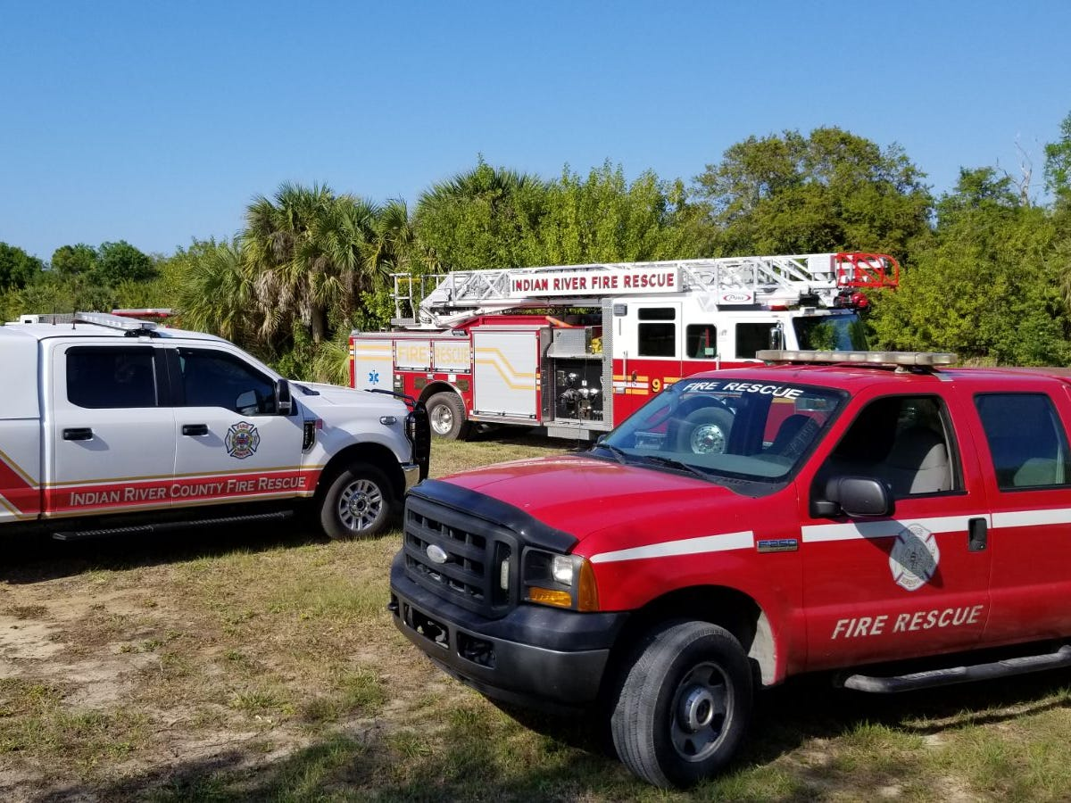 Indian River County Fire Rescue crews responded to a boat fire in the woods north of Manly Avenue in Sebastian on March 15, 2019.
