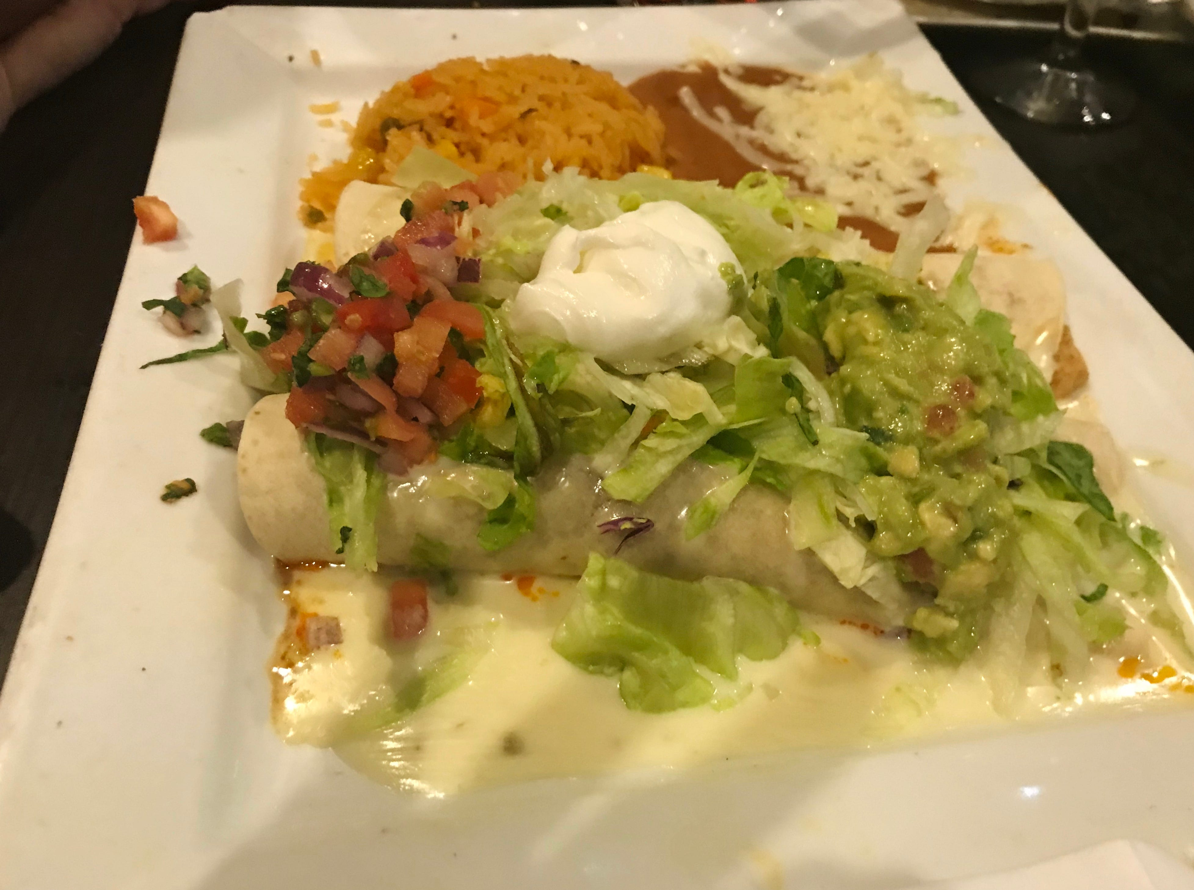 Casa Amigos Burrito Deluxe with beef and chicken was hearty and delicious.