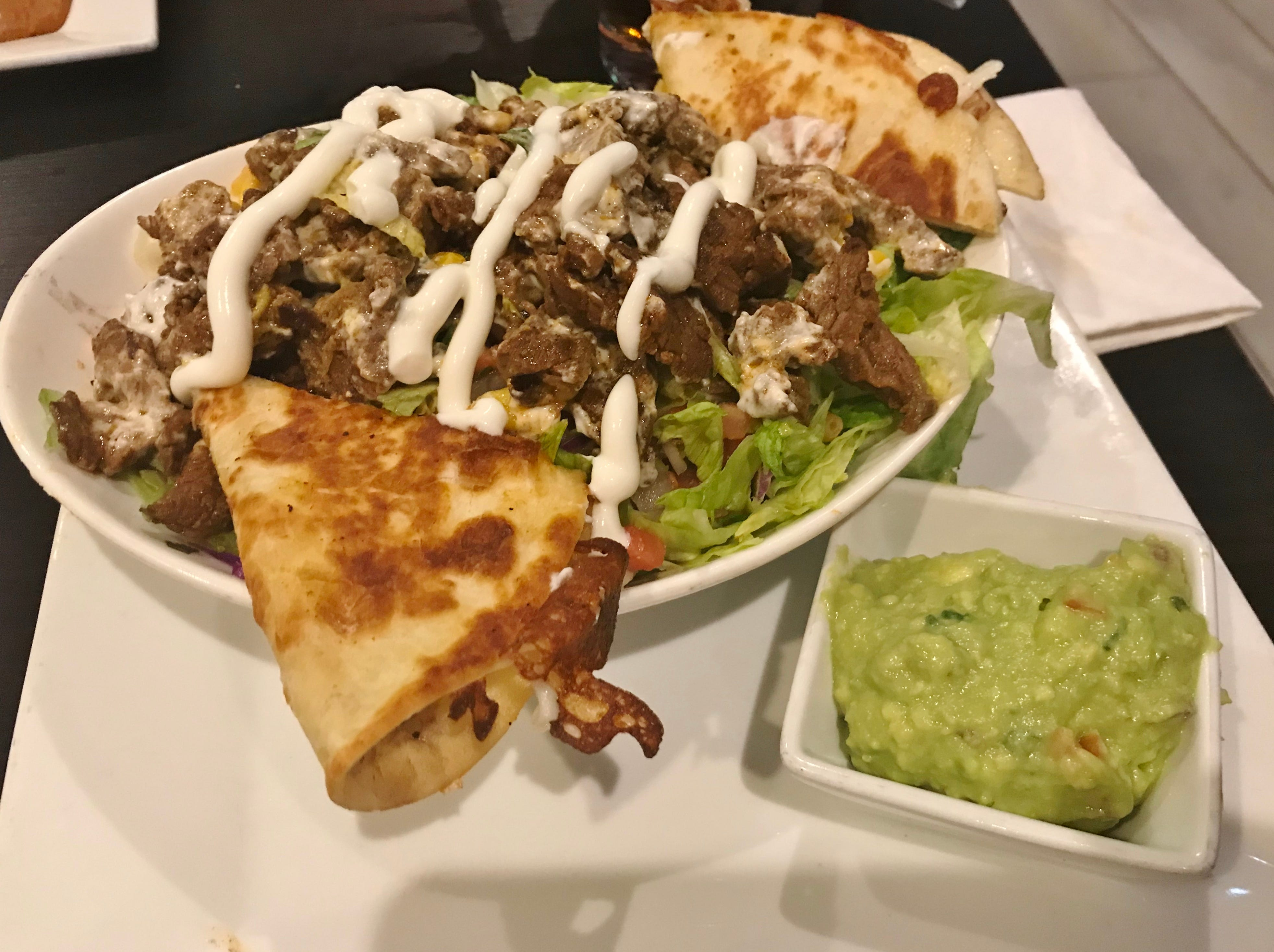 Casa Amigos Bowl was served with tender, flavorful steak and cheese quesadillas.