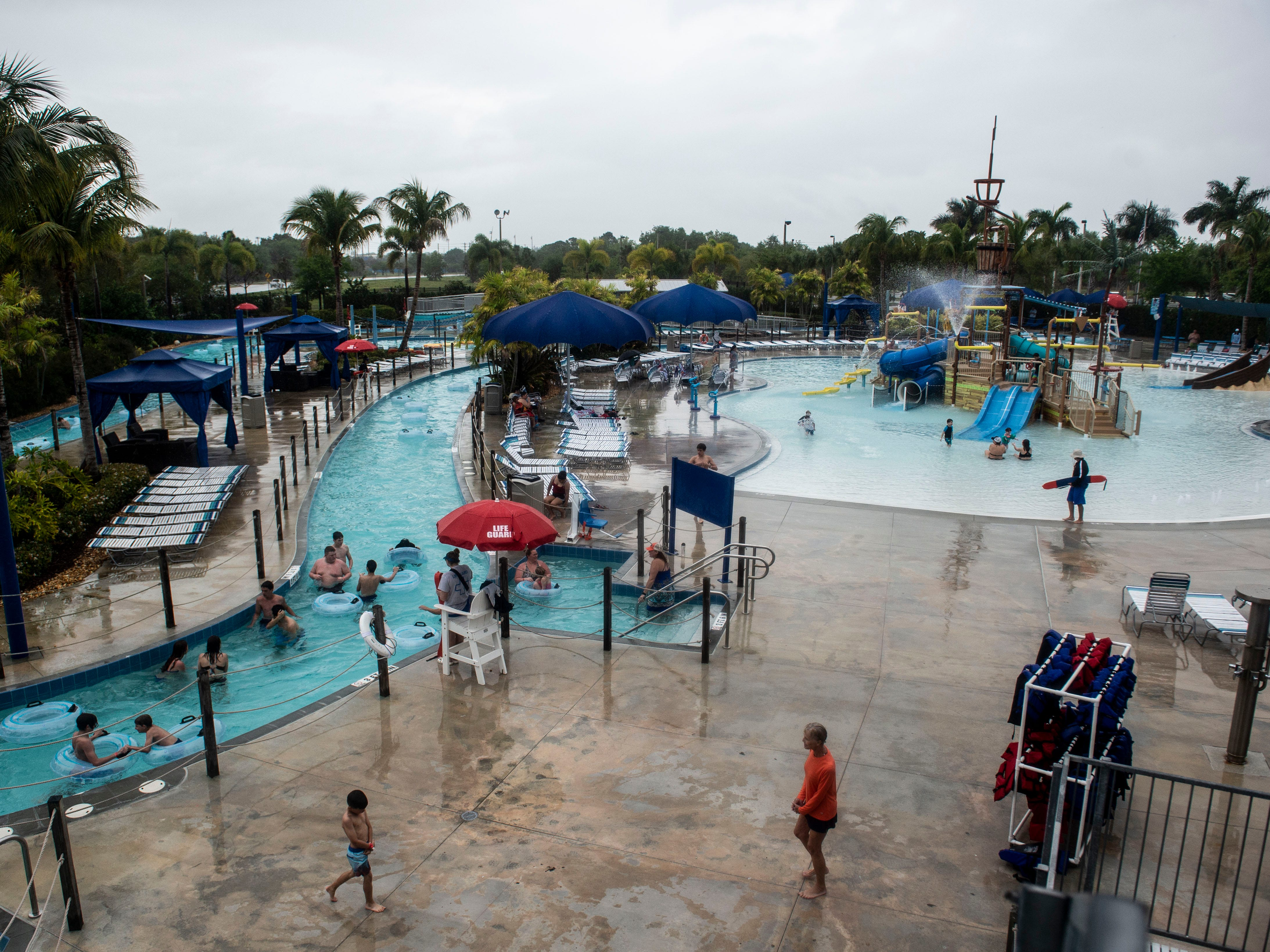 Despite a rainy morning, spring breakers enjoyed slides, the interactive splash playground and the lazy river Friday, March 15, 2019, at Sailfish Splash Waterpark in Stuart. The waterpark was open all week for spring break and is now open 10:30 a.m. to 5 p.m. Saturdays and Sundays through May 31, when summer hours start and the park is open daily.