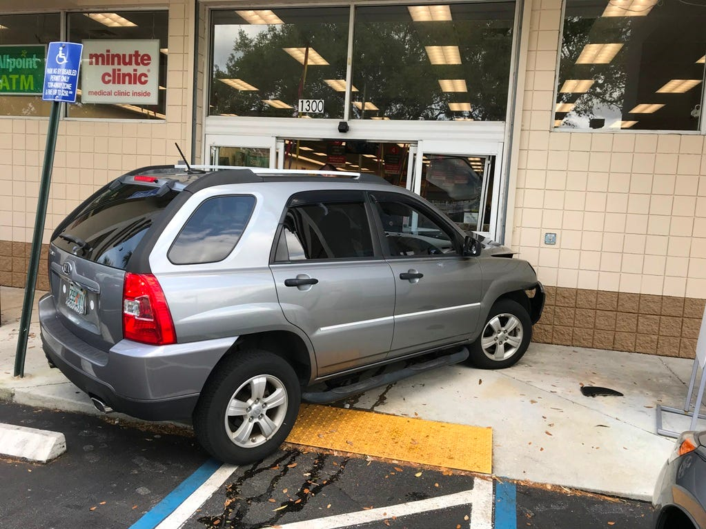 A motorist lost control of his car and struck the front of a CVS Friday in Port St. Lucie.