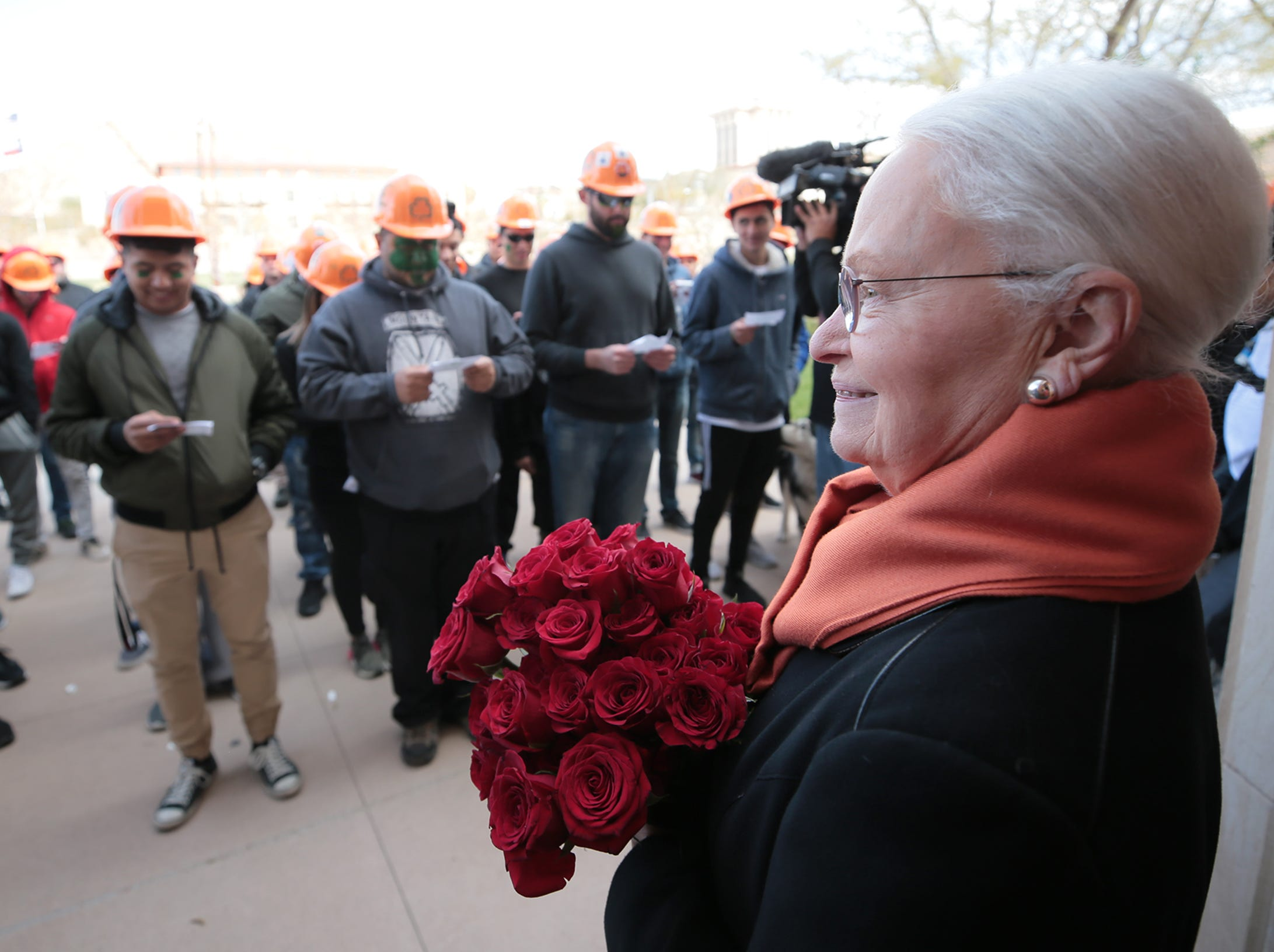 """University of Texas at El Paso engineering students participate Friday, March 15, 2019, in Texas College of Mines Day on campus. The day of events began with a serenade of retiring UTEP President Diana Natalicio. Students then marched to the """"M"""" for a whitewashing, followed by several other events. The event reminds students of the school's roots and honors the patron saint of engineering, St. Patrick. The university was established as the Texas State School of Mines and Metallurgy on April 16, 1913, then became known as the Texas College of Mines and Metallurgy in 1921."""