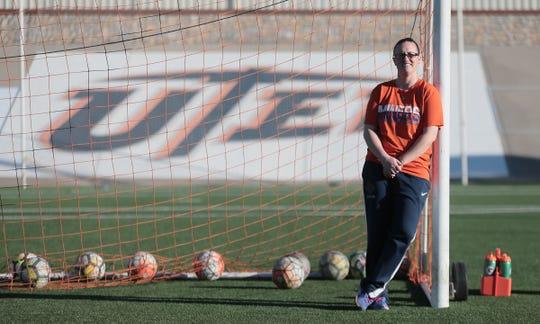 UTEP's new head soccer coach Kathryn Balogun runs a practice Thursday at University Field.