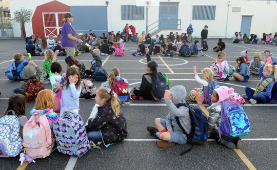 Students at Camarillo Heights School line up before the start of classes. The school is the oldest operating school that has always been part of the Pleasant Valley School District, which is celebrating its 150th birthday this year.