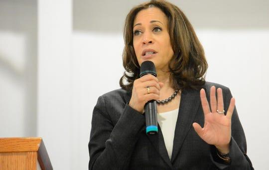 Sen. Kamala Harris, D-Calif., speaks during an event in St. George, S.C., on Saturday.