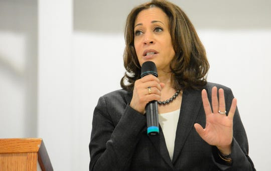 Sen. Kamala Harris, D-Calif., speaks during an event in St. George, S.C., on Saturday.