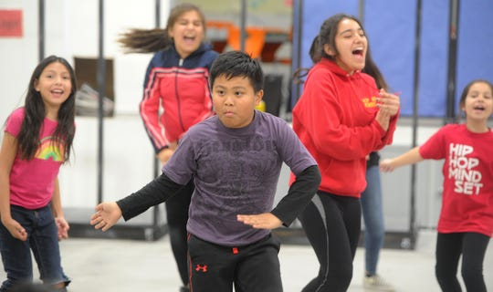 Grier Romero, 10, from Rio Del Mar school rehearses with 30 or so students at Rio Del Sol School in Oxnard. The students with Hip Hop Mindset will perform in the second Hip Hop Ballet on March 26 and 27 at the Oxnard Performing Arts Center. The event is free to all.