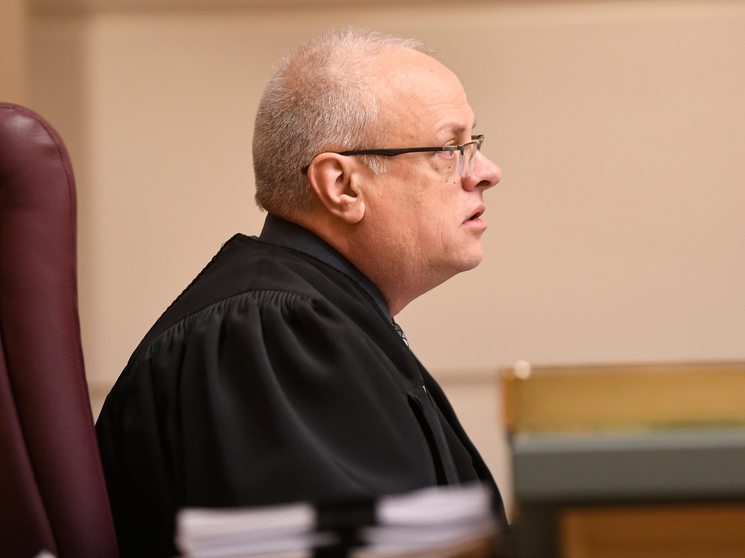Judge Cristen D'Arrigo listens to statements from Tara O'Shea-Watson's family during the sentencing of Jeremiah E. Monell in Cumberland County Superior Court on Friday, Mar. 15, 2019.