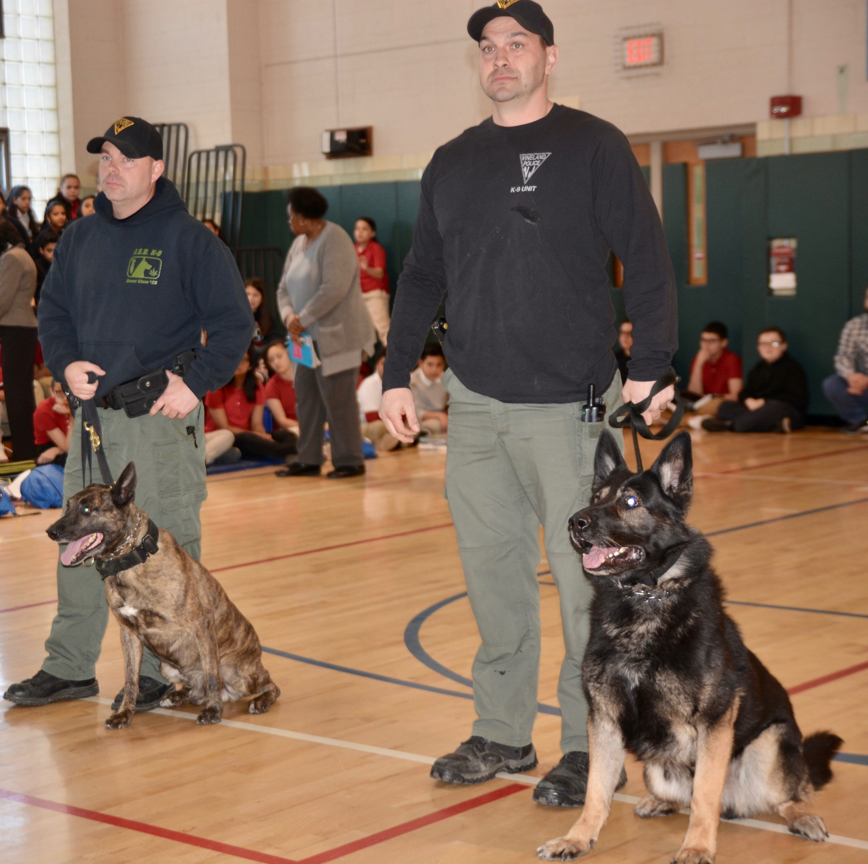 Vineland Police Department K-9 Unit visits Veterans Memorial School