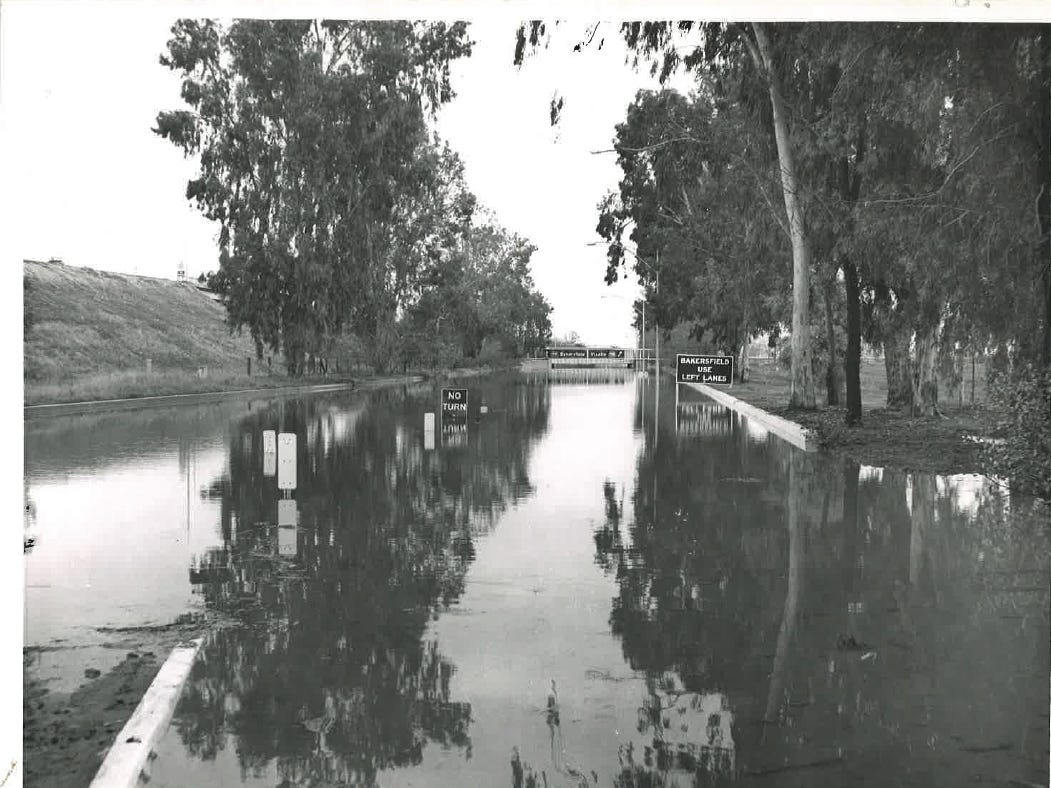 In this photo from the December 1955 flood, a new highway interchange along Highway 99 is flooded.