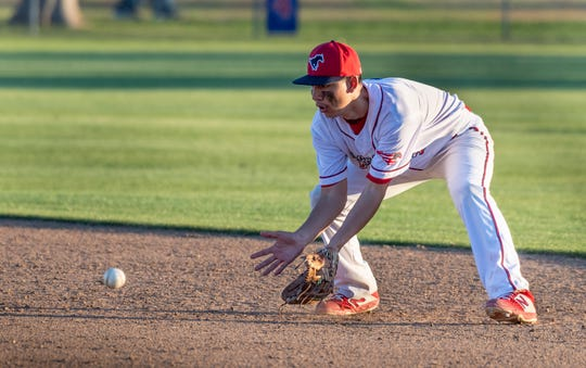 Tulare Western's Noah Bonilla takes a hit ball against Mission Oak in an East Yosemite League high school baseball game on Thursday, March 14, 2019.