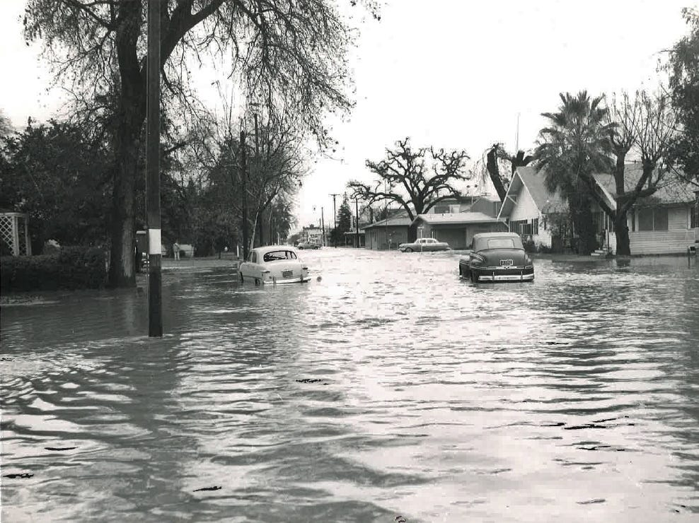 In this photo from the December 1955 flood, Center Street is flooded with two-feel of water.