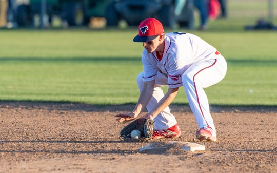 Tulare Western's Will Senn takes a hit ball against Mission Oak in an East Yosemite League high school baseball game on Thursday, March 14, 2019.