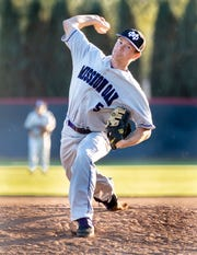 Mission Oak's Chase Wright pitches against Tulare Western in an East Yosemite League high school baseball game on Thursday, March 14, 2019.