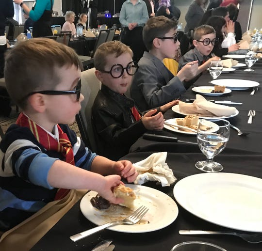 The four sons of Medical College of Wisconsin-Central Wisconsin student Britt DeRuyter got into the Harry Potter themes of Match Day celebration. They are, from left to right: Bram, 4; Osten, 6; Koen, 9; and Bennet, 7.