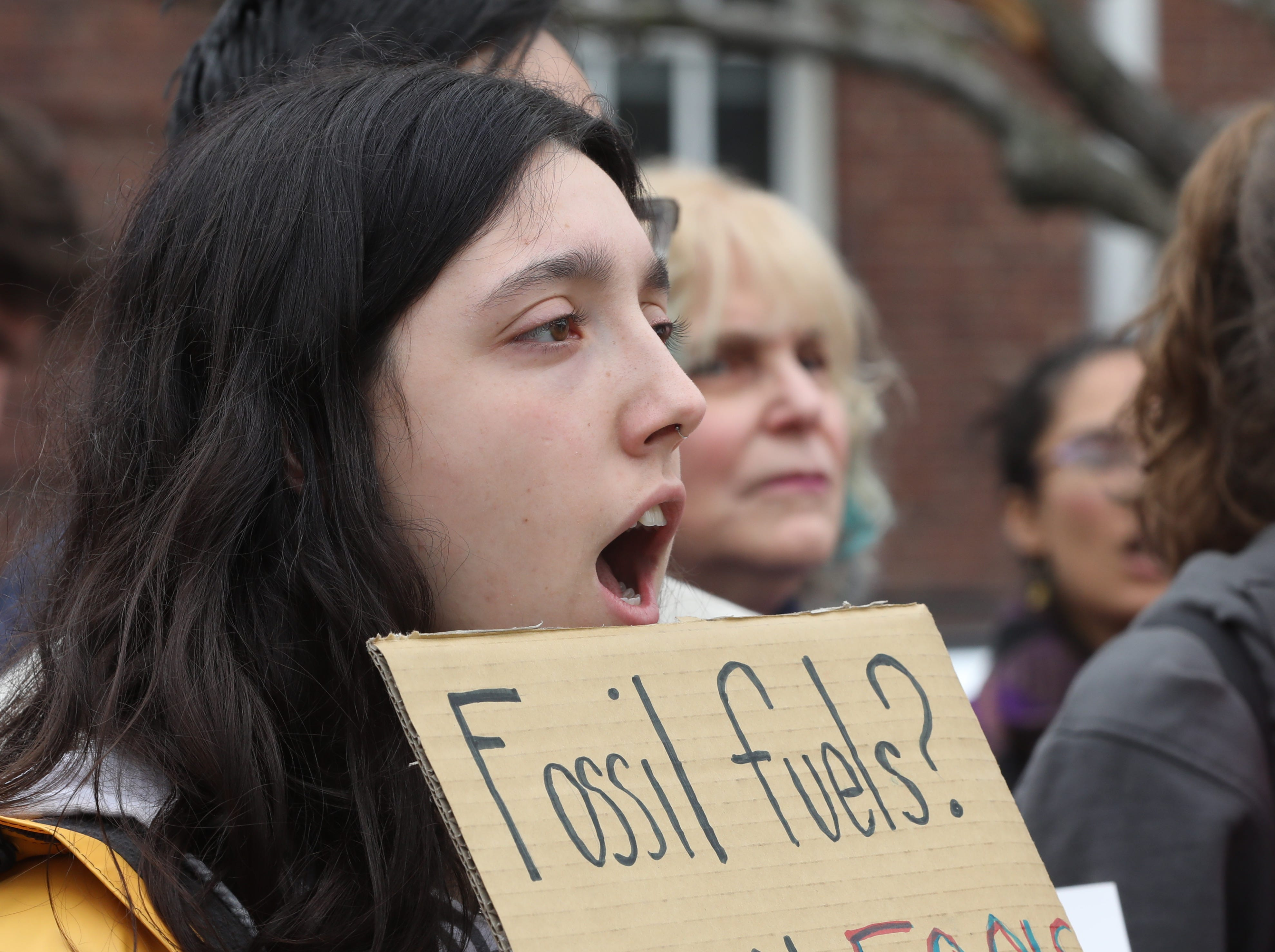 Christine Berlinger, 18 of Nyack High School attends a climate strike in Nyack March 15, 2019. About 100Êstudents inÊRockland County joined high school and college students around the world in walking out of school to protest global climate change and demand more aggressive policies to protect the environment.